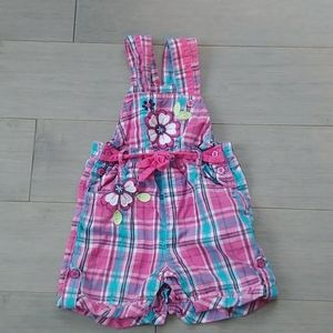 Pink/Blue Plaid Baby Girl's Overall Shorts, 9m